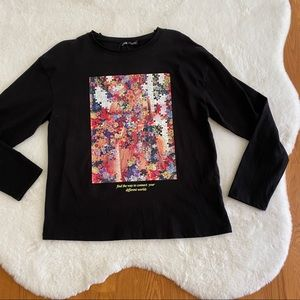 ZARA Graphic Puzzle Long Sleeve Tee